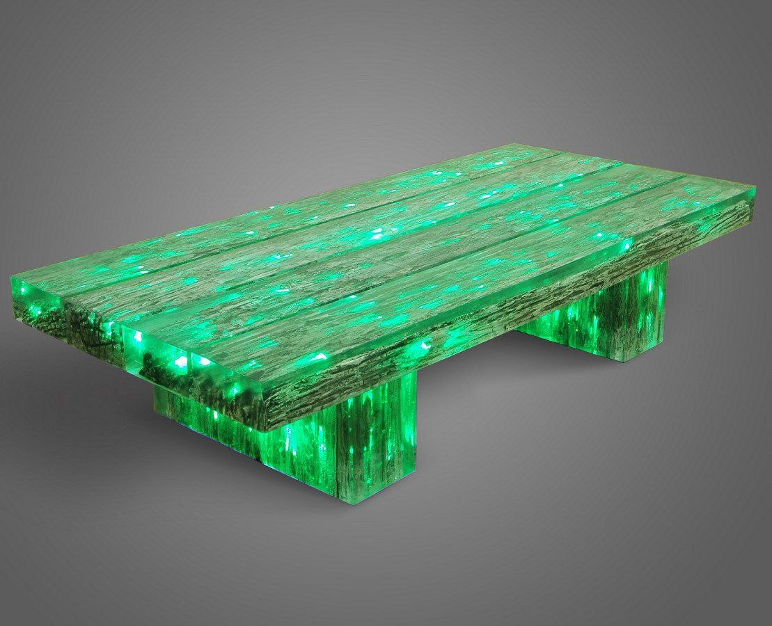 Tb 4 beam coffee table reclaimed wood 180x80x45cm clear resin buy led furniture Led coffee table