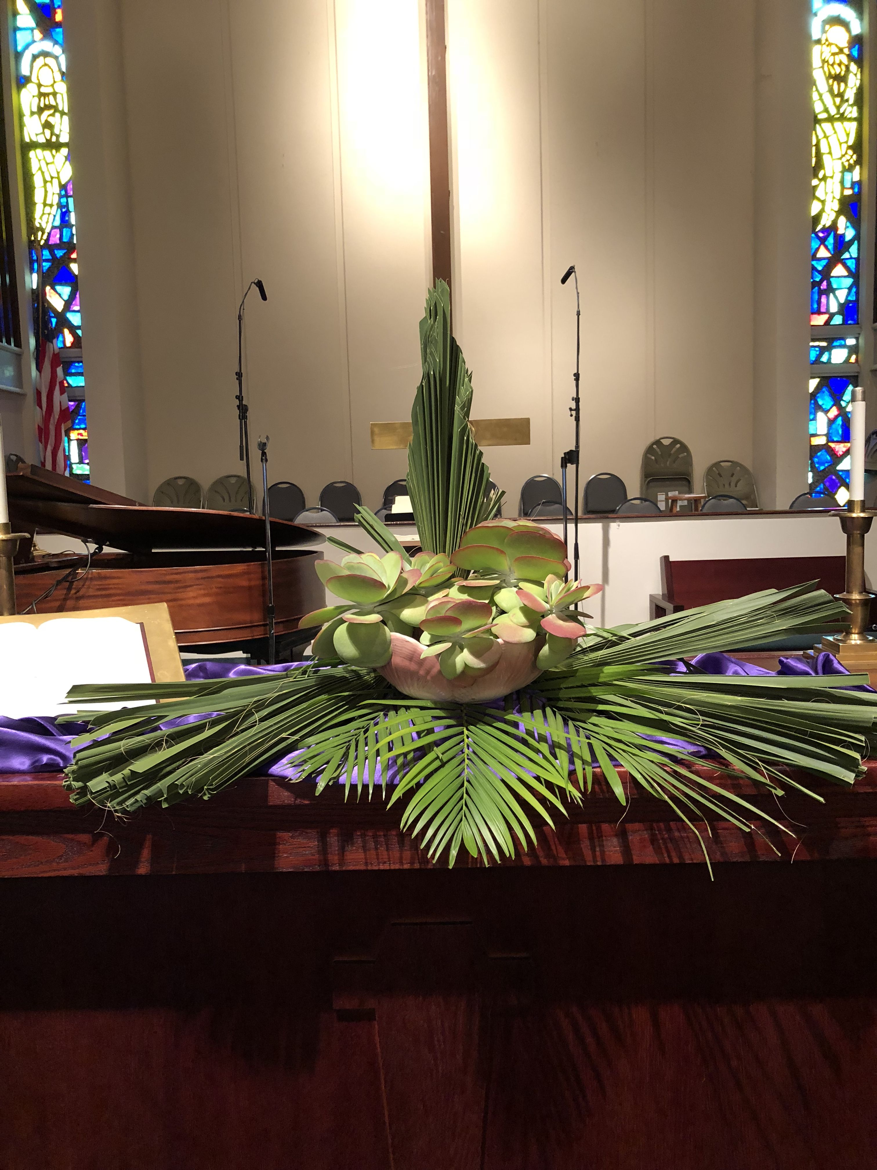 Altarscape For Palm Sunday At Fumc Of Pahokee Fl Arrangement By Sandra Jarriel