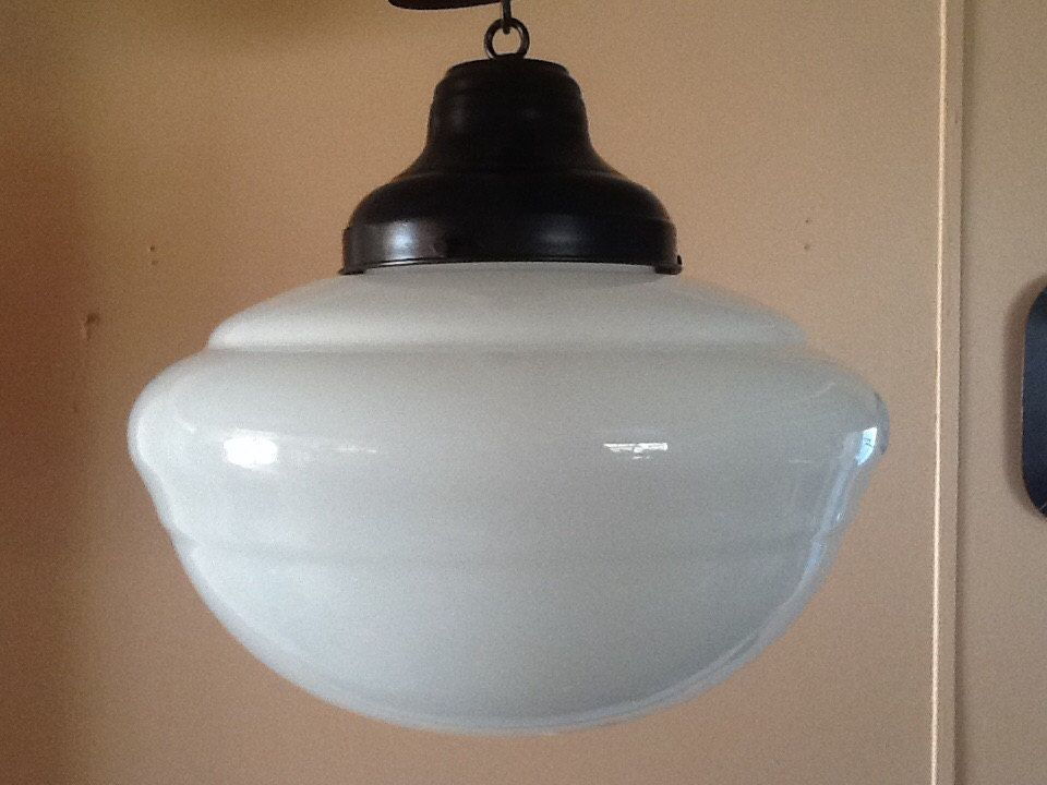 Antique Hanging Church Industrial or School House Pendant Light Milkglass 1 Of 2 & Antique Hanging Church Industrial or School House Pendant Light ...