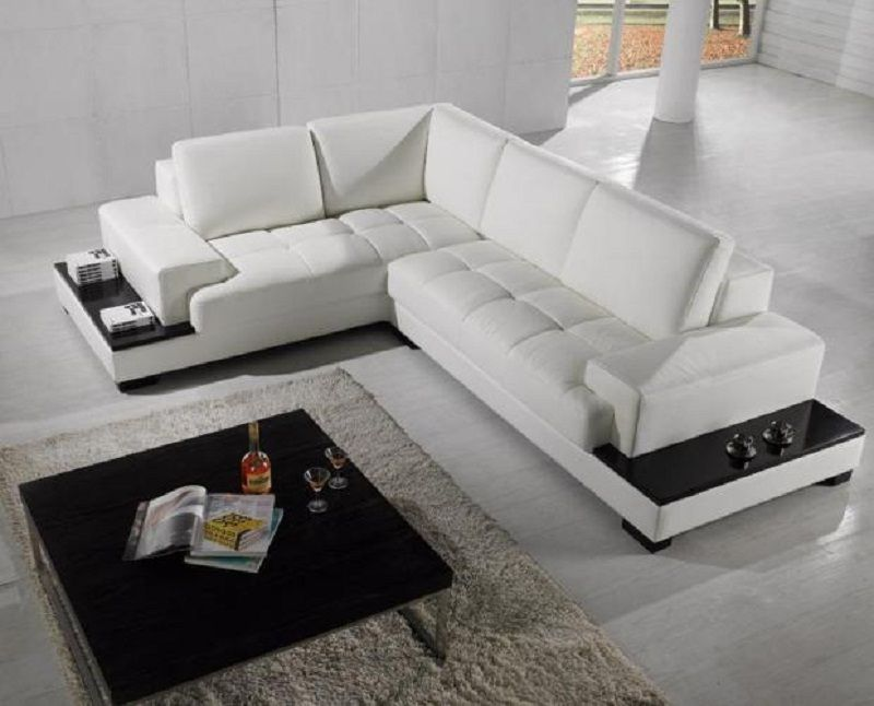White Modern Leather Sectional With Attached Shelving