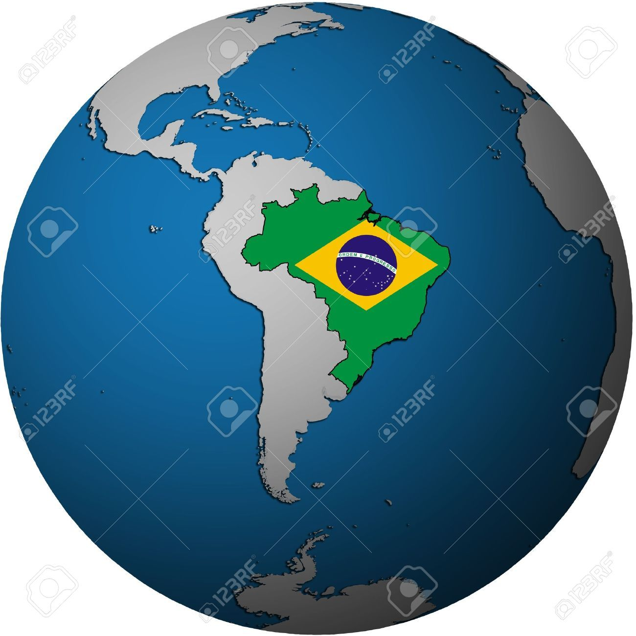 16024794 map with flag of brazil on isolated 16024794 map with flag of brazil on isolated over white map of globe