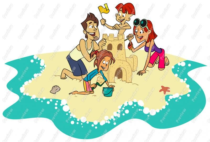 Family At The Beach Clip Art Royalty Free Clipart Vector Cartoon