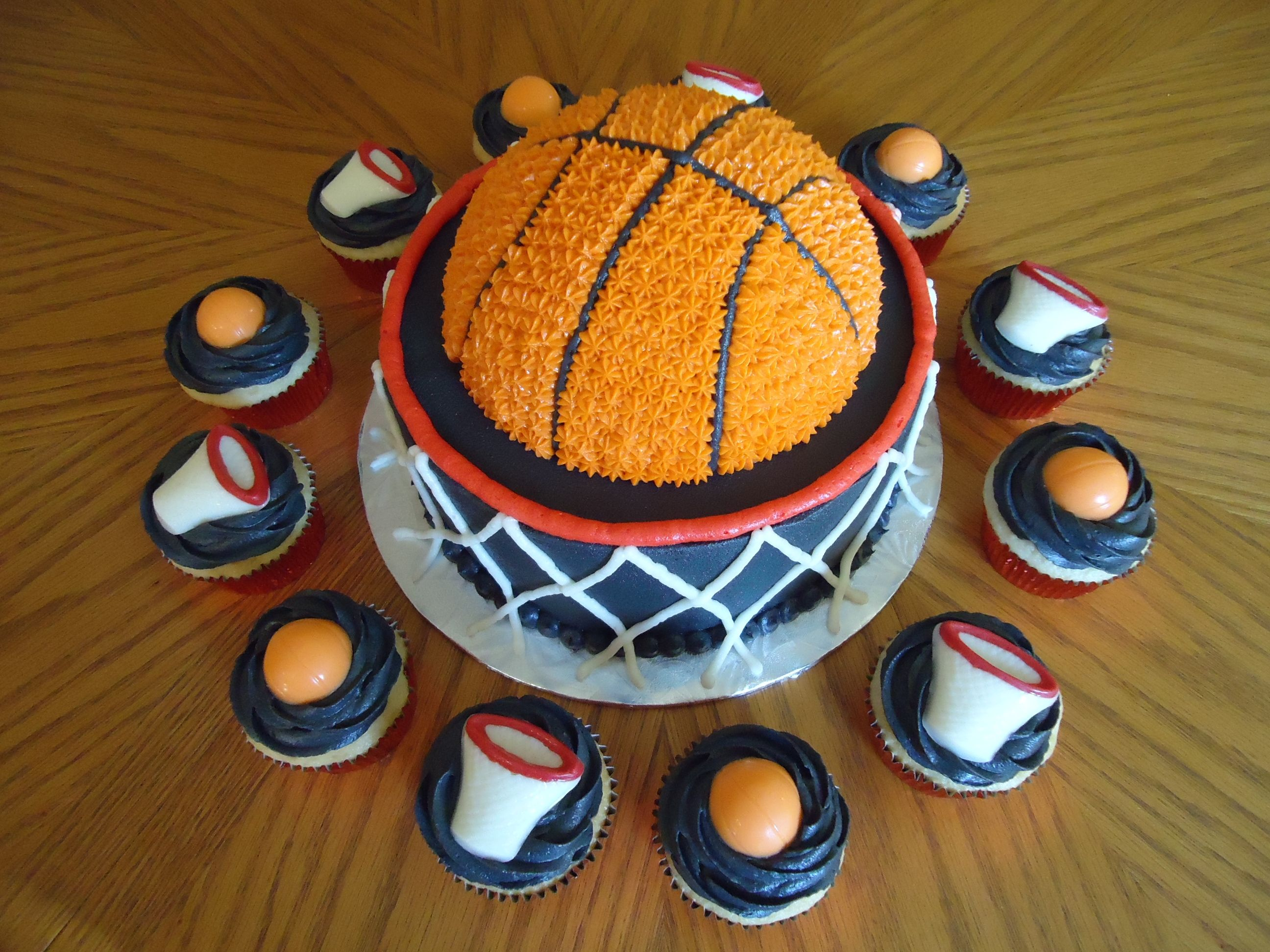 Basketball Cake with Matching Cupcakes cakes to make Pinterest