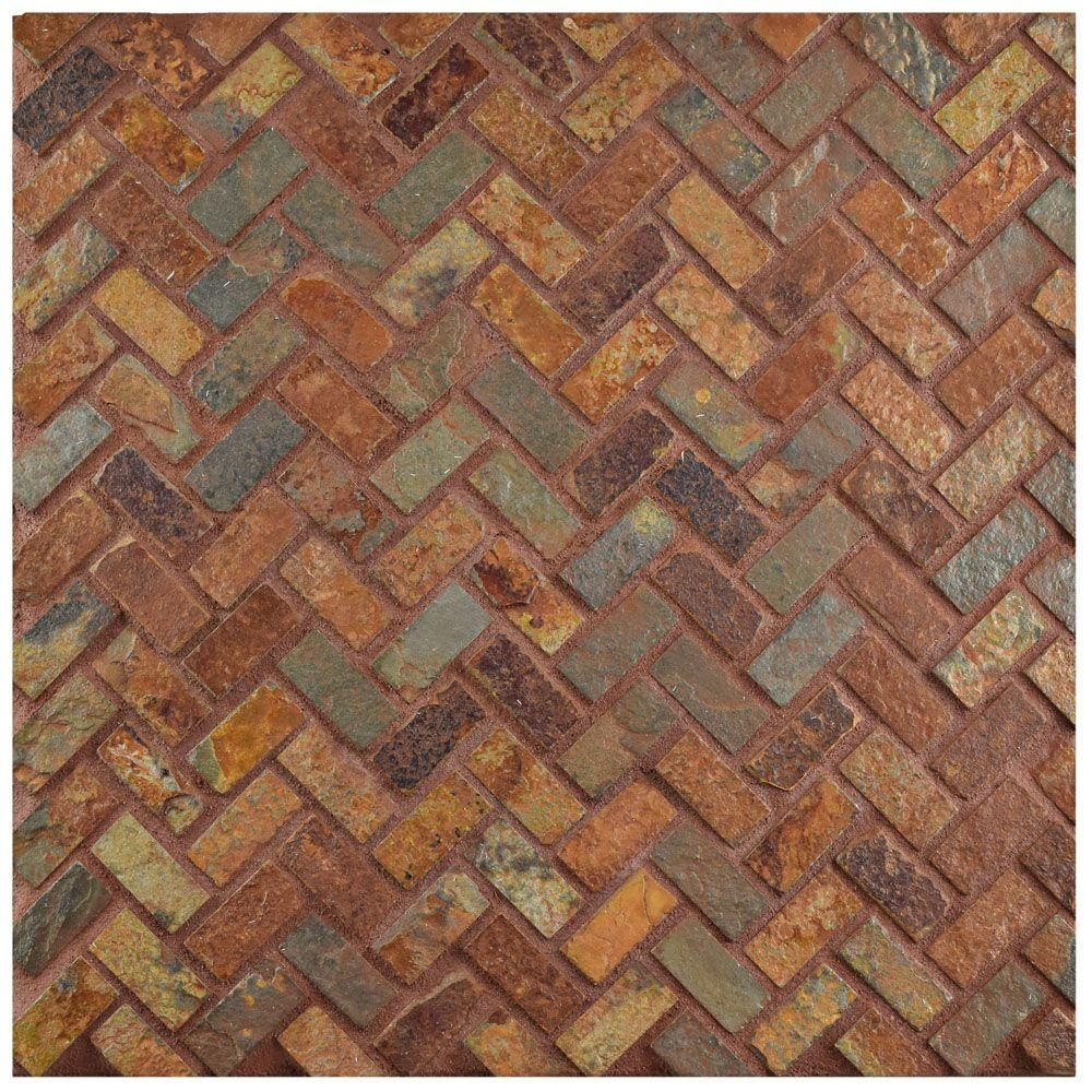 Merola Tile Crag Herringbone Sunset Slate 12 In X 12 In X 10 Mm Natural Stone Mosaic Tile Mcrhrss The Home Depot