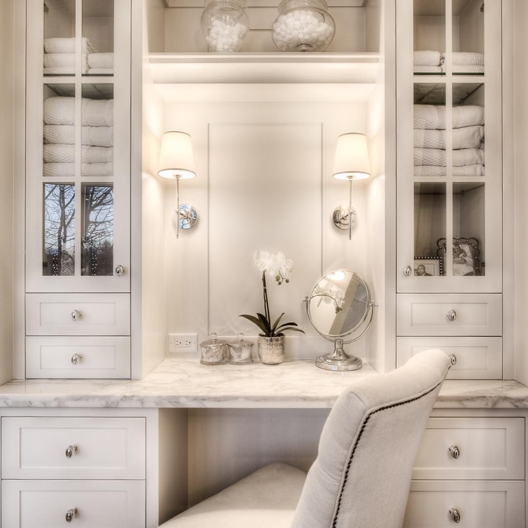 A Little Luxury That We Try To Incorporate Into Master Bathrooms When Space Allows This Is Bathroom With Makeup Vanity Bathroom Remodel Master Vanity Shelves