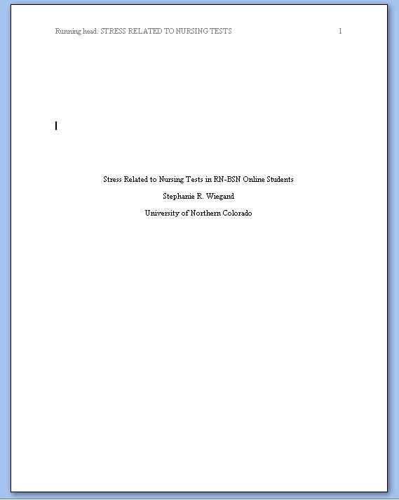 Title Page APA Format