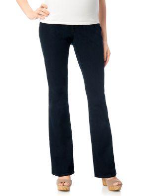 af75fb4fd Indigo Blue Long Secret Fit Belly 5 Pocket Boot Cut Maternity Jeans ...