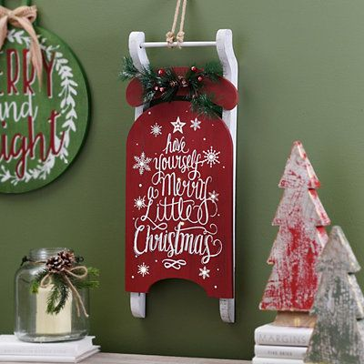 Pre-Lit Merry Little Christmas Sleigh Plaque Decor - Christmas