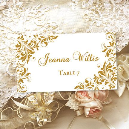 Printable Place Cards Kaitlyn Gold Editable Wordc Tent Card