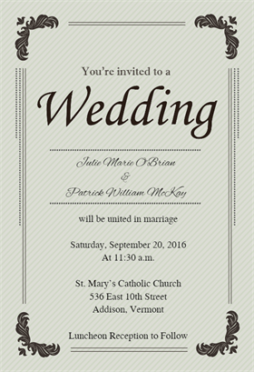 Floral Corners printable invitation template Customize add text