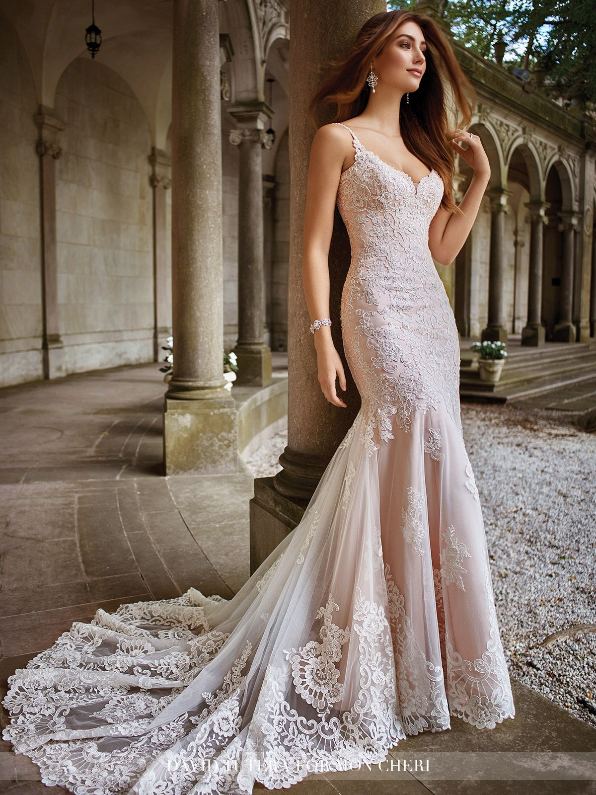 23c93631089f5 Sleeveless re-embroidered Alençon lace on tulle over soft satin sheath with  hand-beaded spaghetti straps