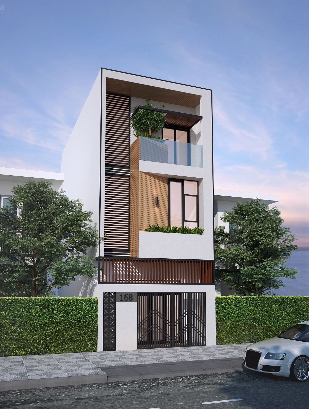 50 Narrow Lot Houses That Transform A Skinny Exterior Into Something Special House Designs Exterior Narrow House Designs House Front Design