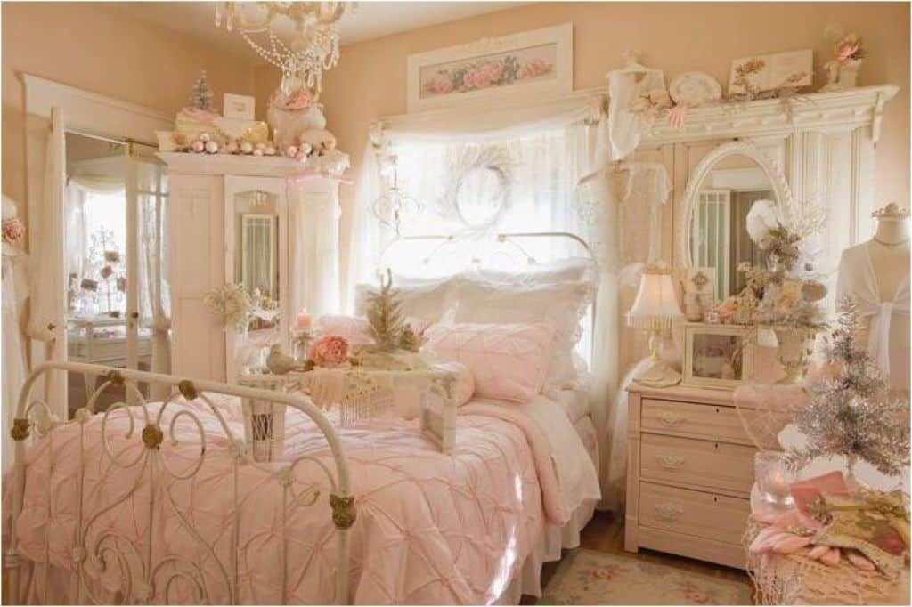 Pink Shabby Chic Style Bedroom With Metal Bed And Vintage Accessories Warm Welcoming