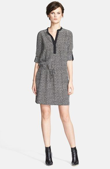 Vince Silk Drawstring Long Sleeve Shirtdress on shopstyle.com