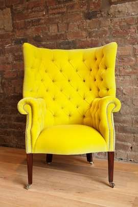 Quirky And Modern Sunshine Yellow Fabric Accent Chair Will Bring