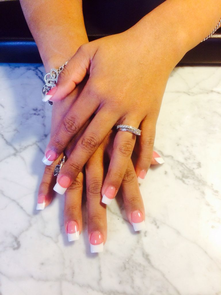 Classic Pink & White French Tip. www.vitalitystudiosa.com | Acrylic ...