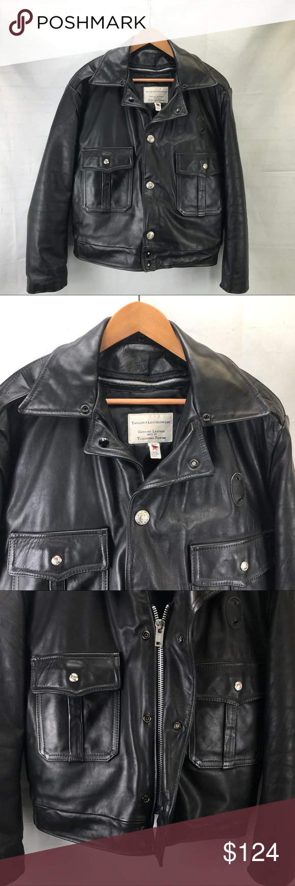 Taylors Leatherwear Police Leather Heavy Jacket Heavy