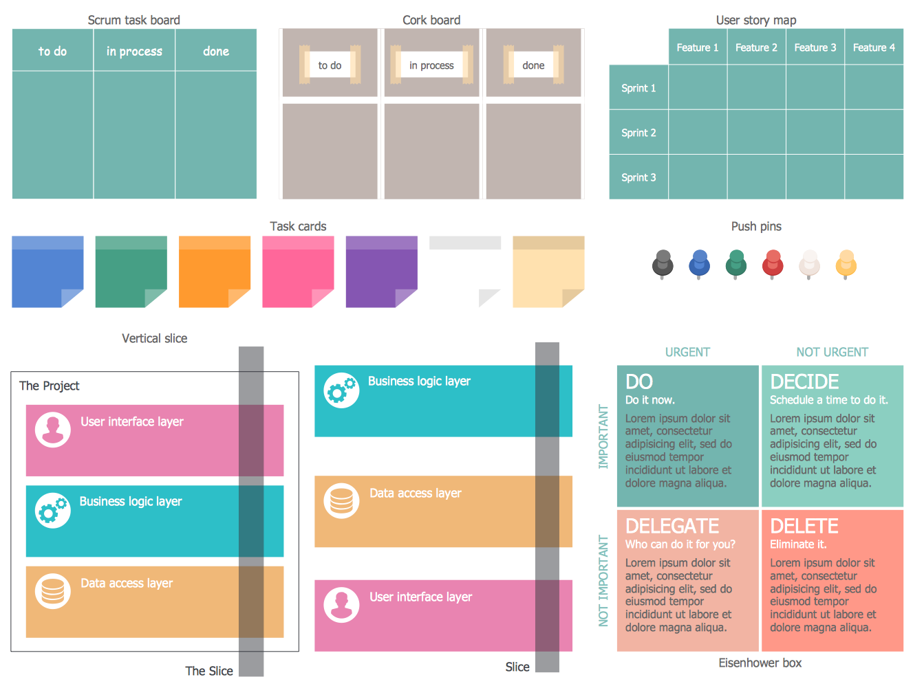 Design Elements — Scrum Diagrams. Find more in #Scrum #Workflow solution.
