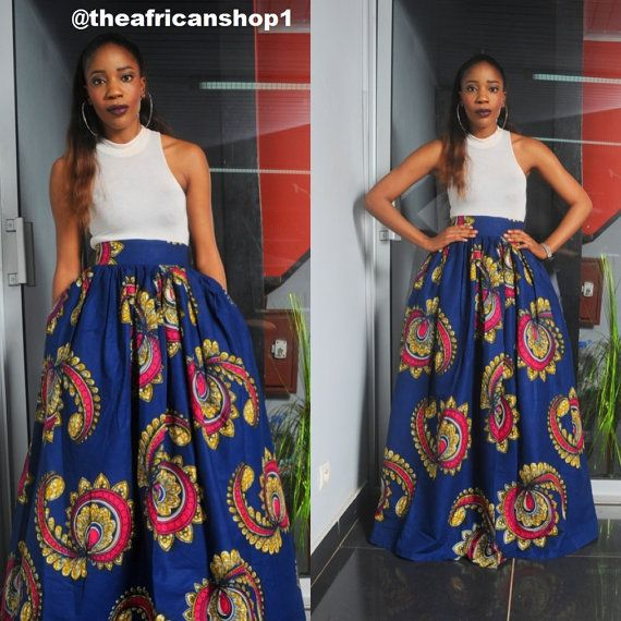 Casia Maxi Skirt Proudly Hand made in Africa from 100% wax print.    It is an unlined skirt tailor made to fit your specific measurements. Length
