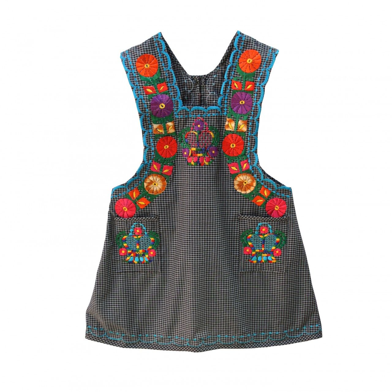 embroidered ladies apron black check w blue flowers ethical embroidered ladies apron black check w blue flowers ethical handmade mexican