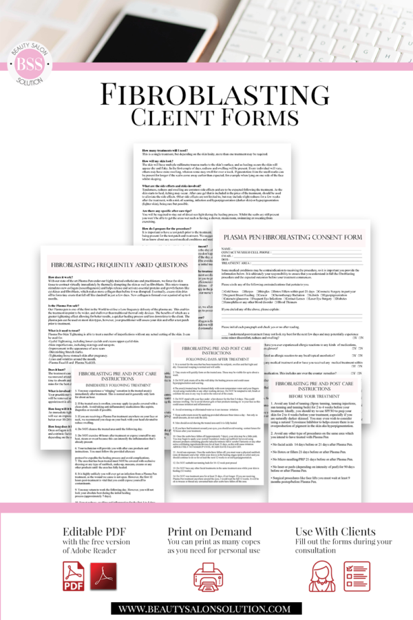 Fibroblasting Consent And Client Forms In 2020 Consent Forms Beauty Salon Price List Form