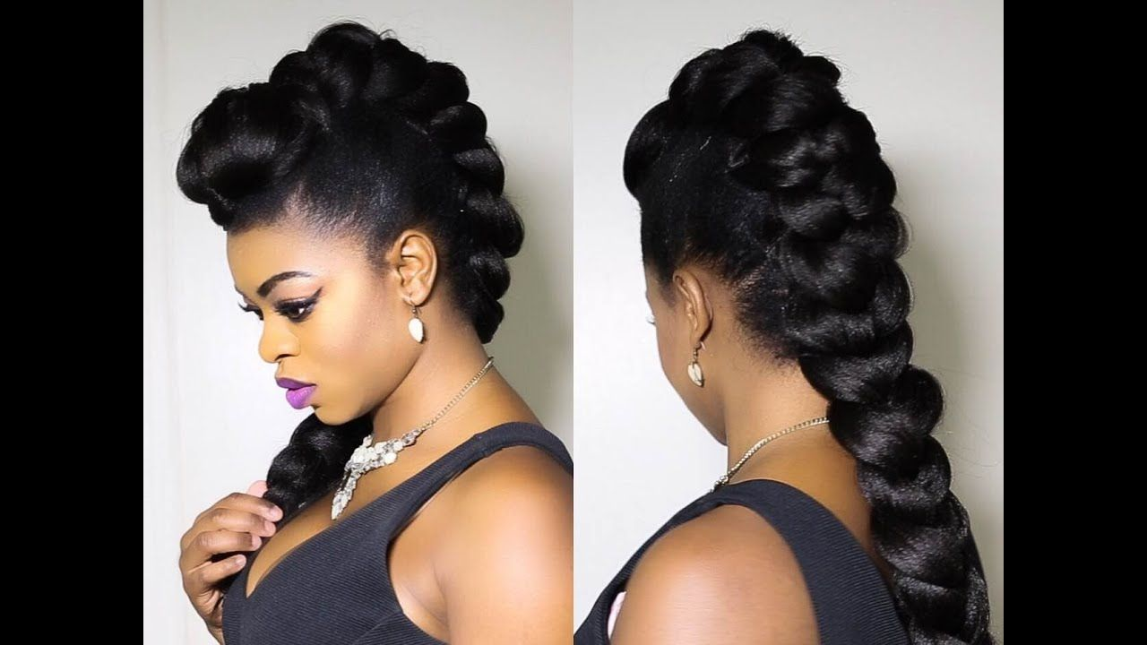 Faux Braided Mohawk On Natural Hair Youtube Cornrows Braids For Black Women Natural Hair Mohawk Natural Hair Styles