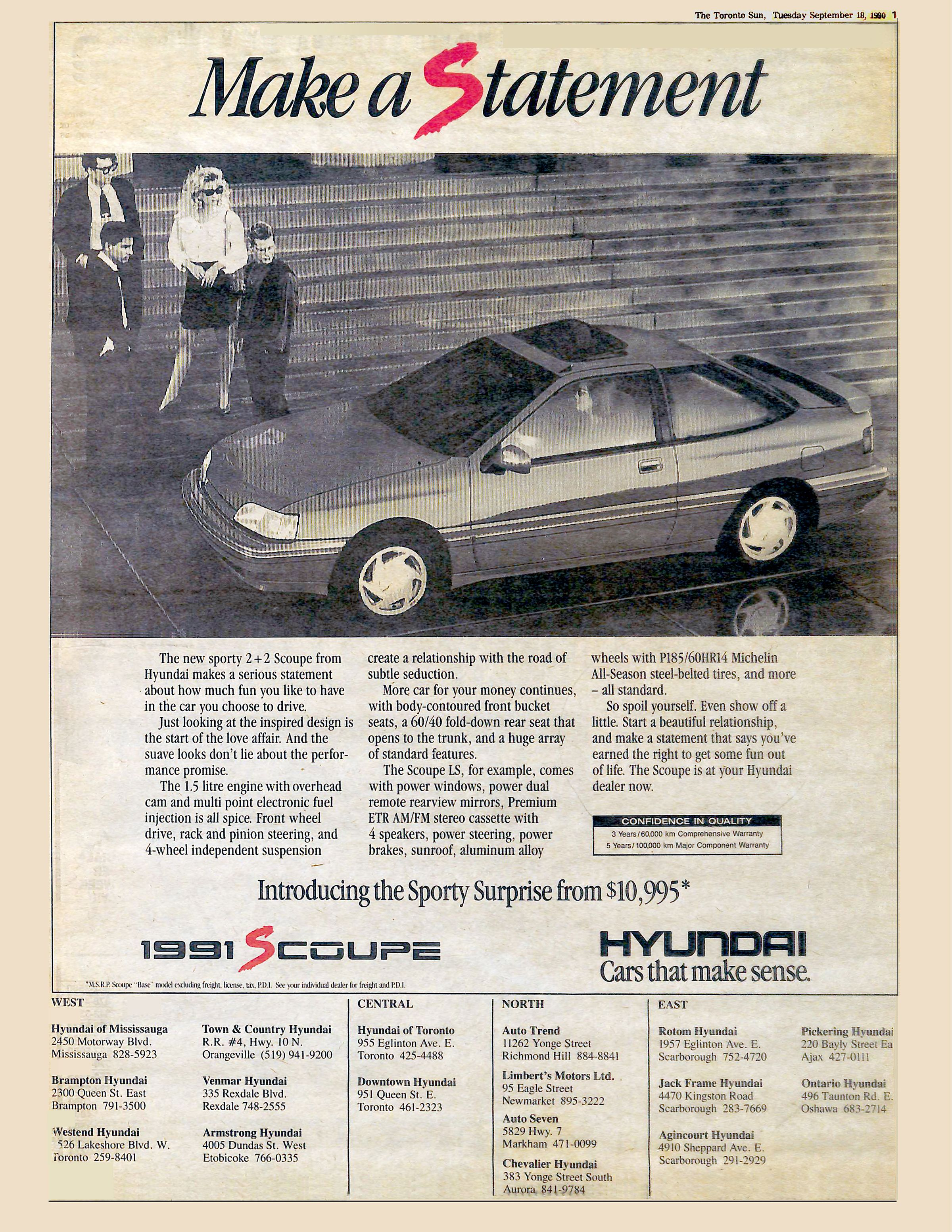 Hyundai Scoupe Newspaper Ad 1990 Agency Backer Spielvogel Bates