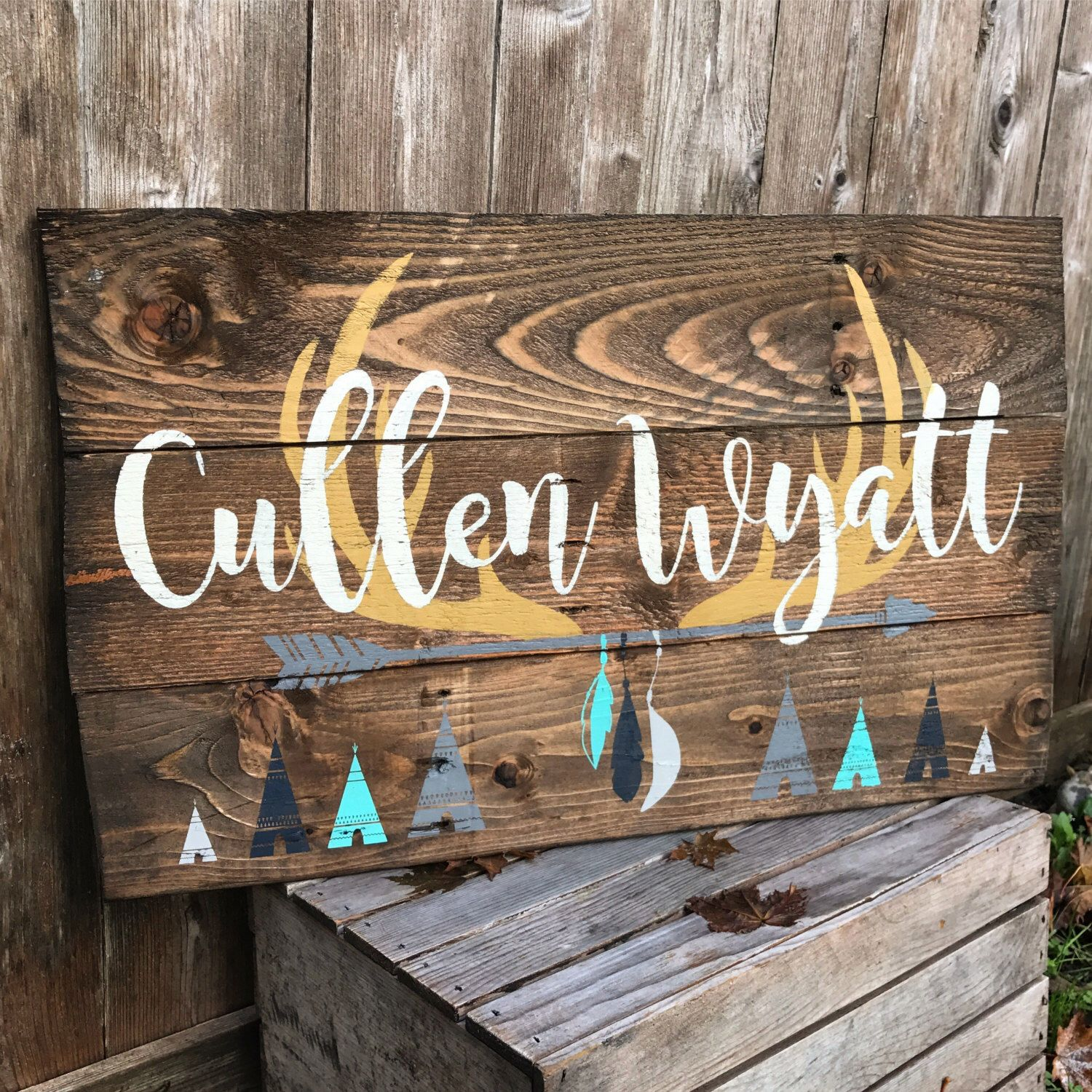 Rustic Large Nursery Name Arrow And Antlers Feathers