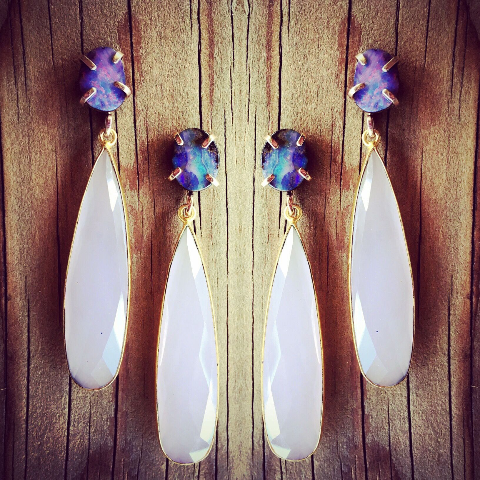Check Out Opal and Rose Quartz Earrings on Mineraliety