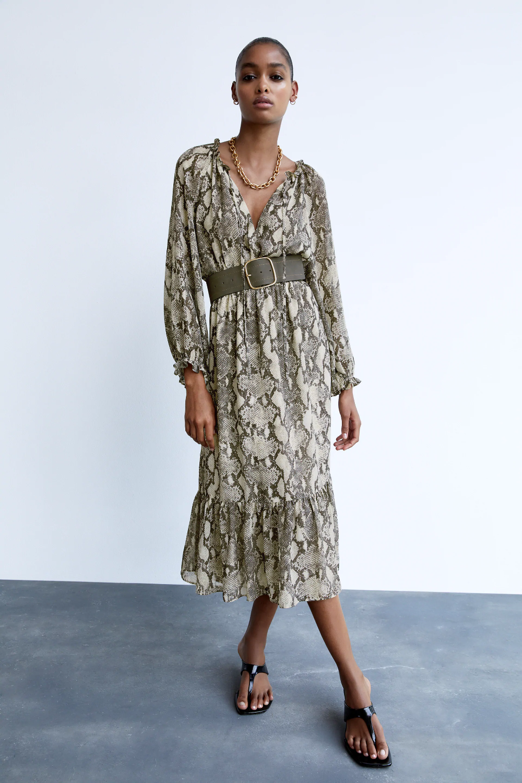 Long Animal Print Dress Zara Canada In 2020 Leopard Print Dress Animal Print Dresses Dresses