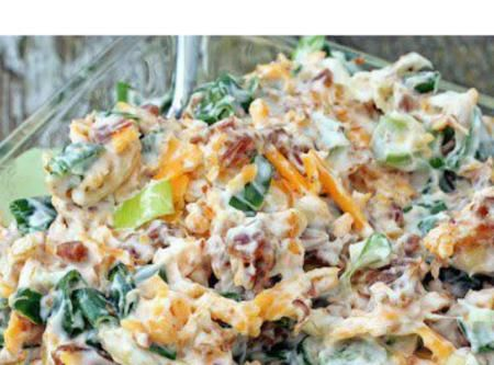 Million Dollar Dip Recipe 5 green onions, chopped 8 oz. low fat cheddar cheese, shredded 1- 1/2 cups light mayonnaise--I've used greek yogurt instead and loved it 1 jar Hormel Real Bacon Bits 1 pkg. slivered almonds Mix the onions, cheese, mayo, bacon bits, and slivered almonds together. Chill for 2 hours. Serve with favorite cracker. (Tastes best with butter flavored crackers such as Ritz or Club).
