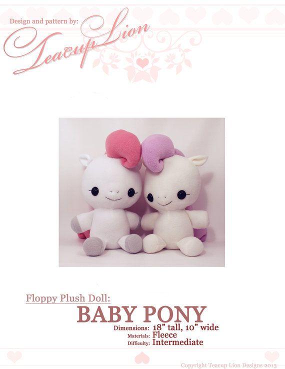 PDF sewing pattern - My Little Pony Horse Unicorn Pegasus plush ...
