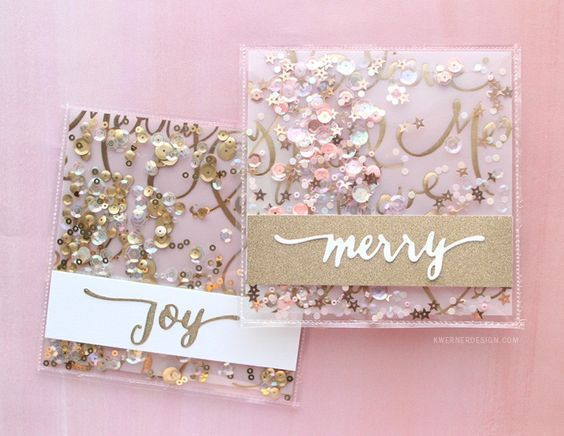 Beautiful Shaker cards made using Fuse tool // Holiday Card Series 2015 – Day 24 – kwernerdesign blog: