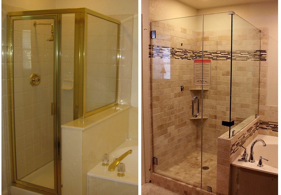 Before and after images of bathroom shower remodels for - Before and after small bathroom remodels ...