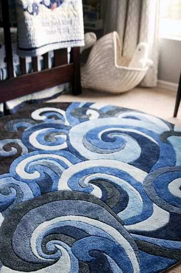 Cute little wave rug for a surf-themed nursery 'Lil Mo Hipster LMT-1 Surf' by Momeni (can be found at rugdepot.com)