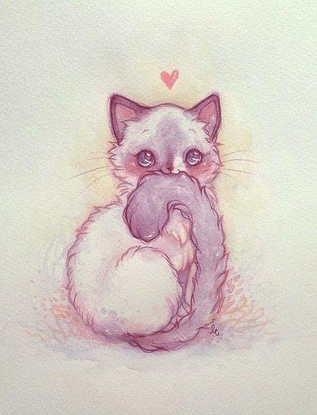 Pin By Diana Thompson On 3 Art Manga Cute Cat Illustration