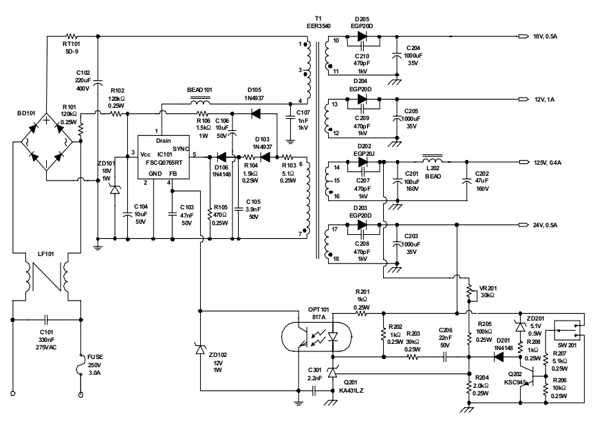 crt tv power supply schematic