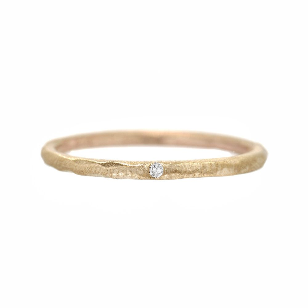 Tiny Diamond Ring Delicate Engagement Stacking Rings Gold Band Midi Knuckle Organic Hammered Nixin