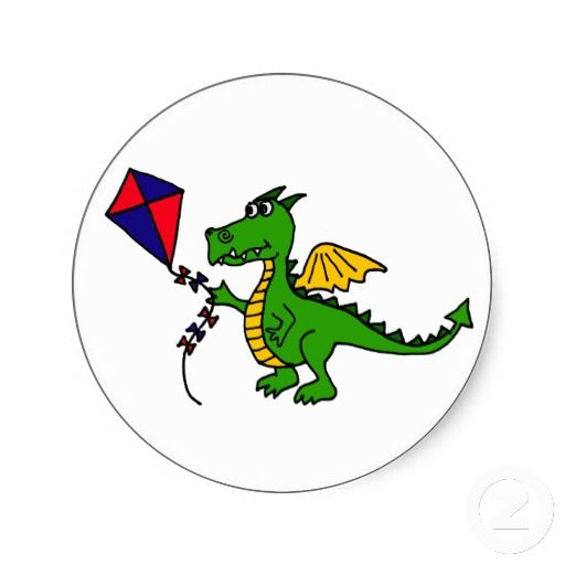 Shop xx hilarious dragon flying kite classic round sticker created by naturesmiles