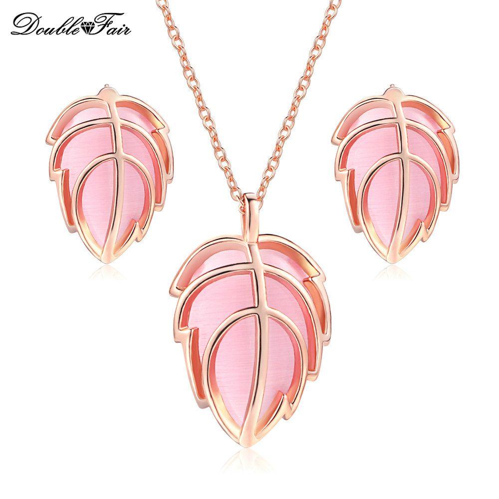 Pink stone simprecious rose gold color elegant leaf stud earrings