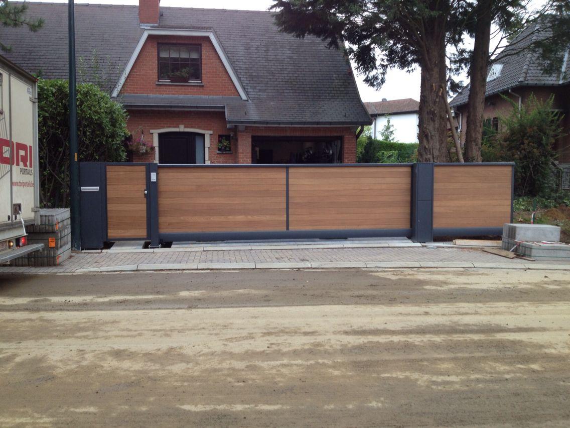 Portail auto portant acier et bois for Portail bois jardin