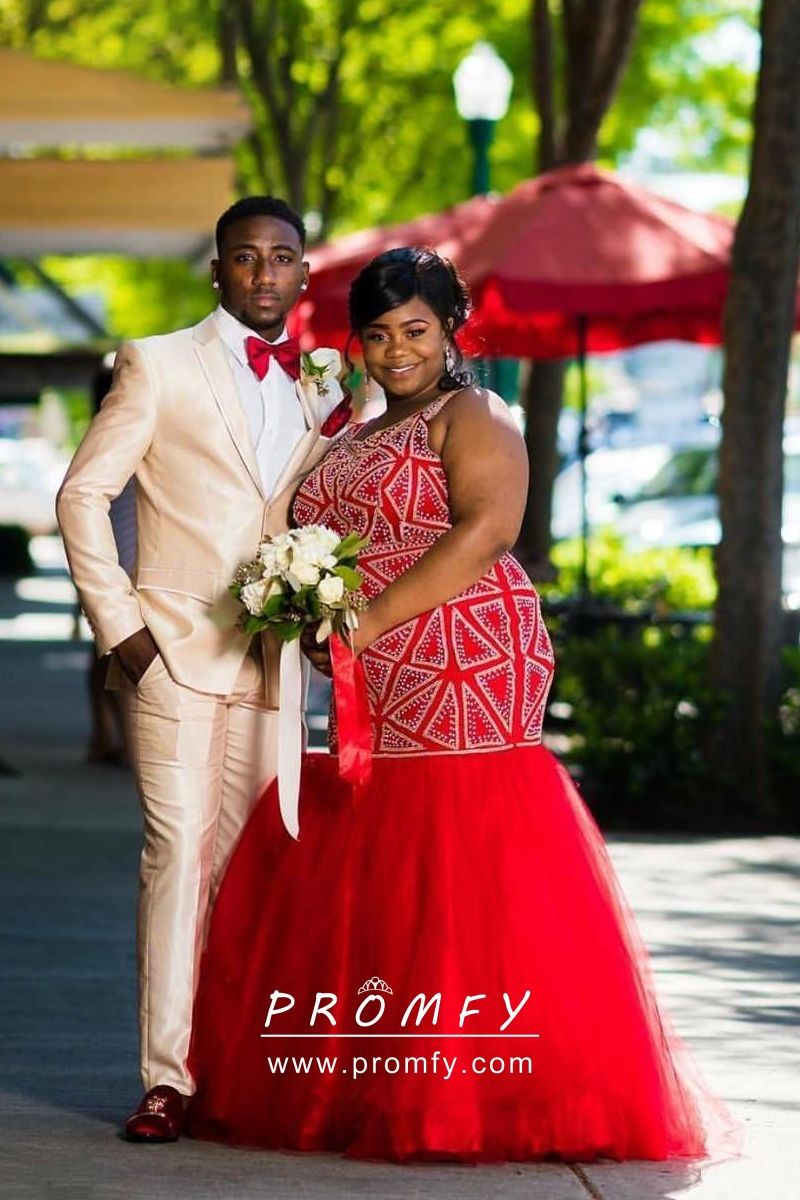 c41c44d232b Trending beaded red tulle plus size African American prom dress. Red  mermaid floor length plus size formal gown.
