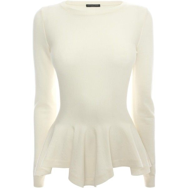 Alexander McQueen Boat Neck Peplum Jumper (1.775 BRL) ❤ liked on Polyvore featuring tops, sweaters, shirts, blouses, white boat neck sweater, white peplum top, peplum sweater, white top and boat neck shirt