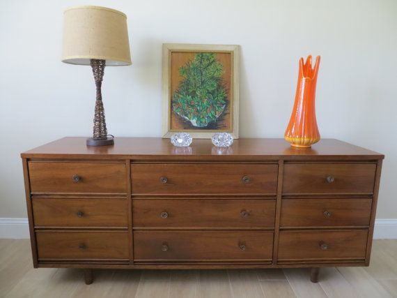 Mid Century Modern Dixie Furniture Nine Drawer Dresser - Triple Dresser -  Credenza - Buffet - Mid Century Modern Dixie Furniture Nine Drawer Dresser - Triple