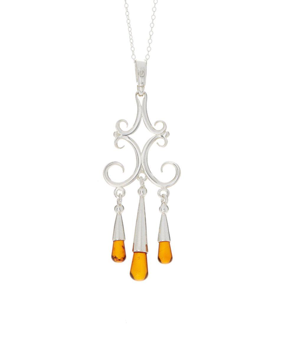 Honey Amber & Sterling Silver Scroll Chandelier Pendant Necklace by Vessel International #zulily #zulilyfinds