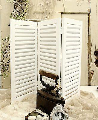 3 Teiliger Paravent Fensterladen Holz Weiss Shabby Vintage Landhaus