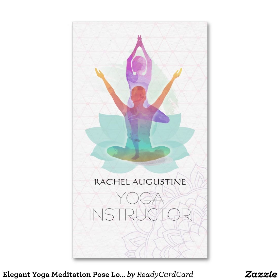 Elegant Watercolor Yoga Meditation Lotus Pattern Business Card Zazzle Com Elegante Visitenkarten Aquarell Visitenkarten Visitenkarten