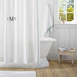 White Shower Curtain With Teal Pom Pom Trim Monogram It Xo