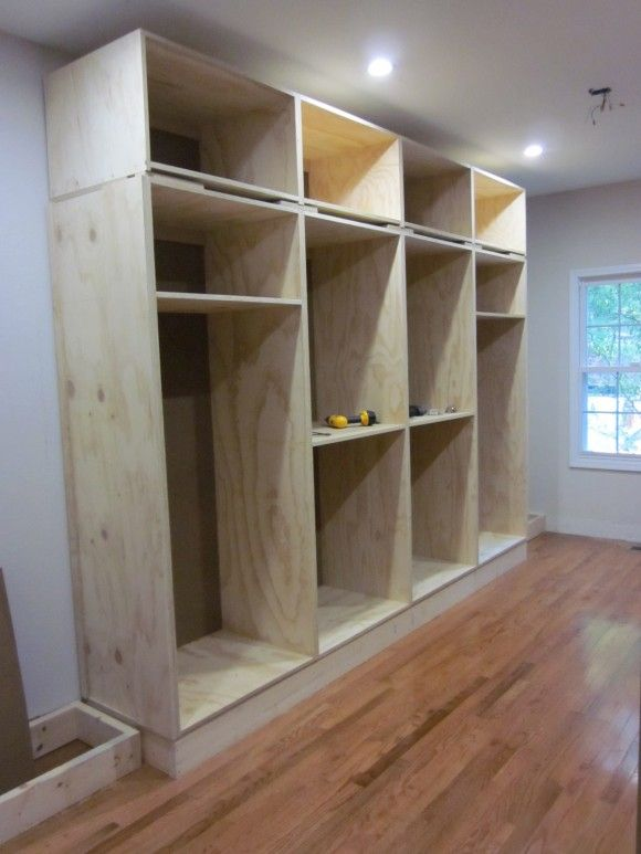 Built in closet also info on applying crown molding etc for How to build a walk in closet step by step
