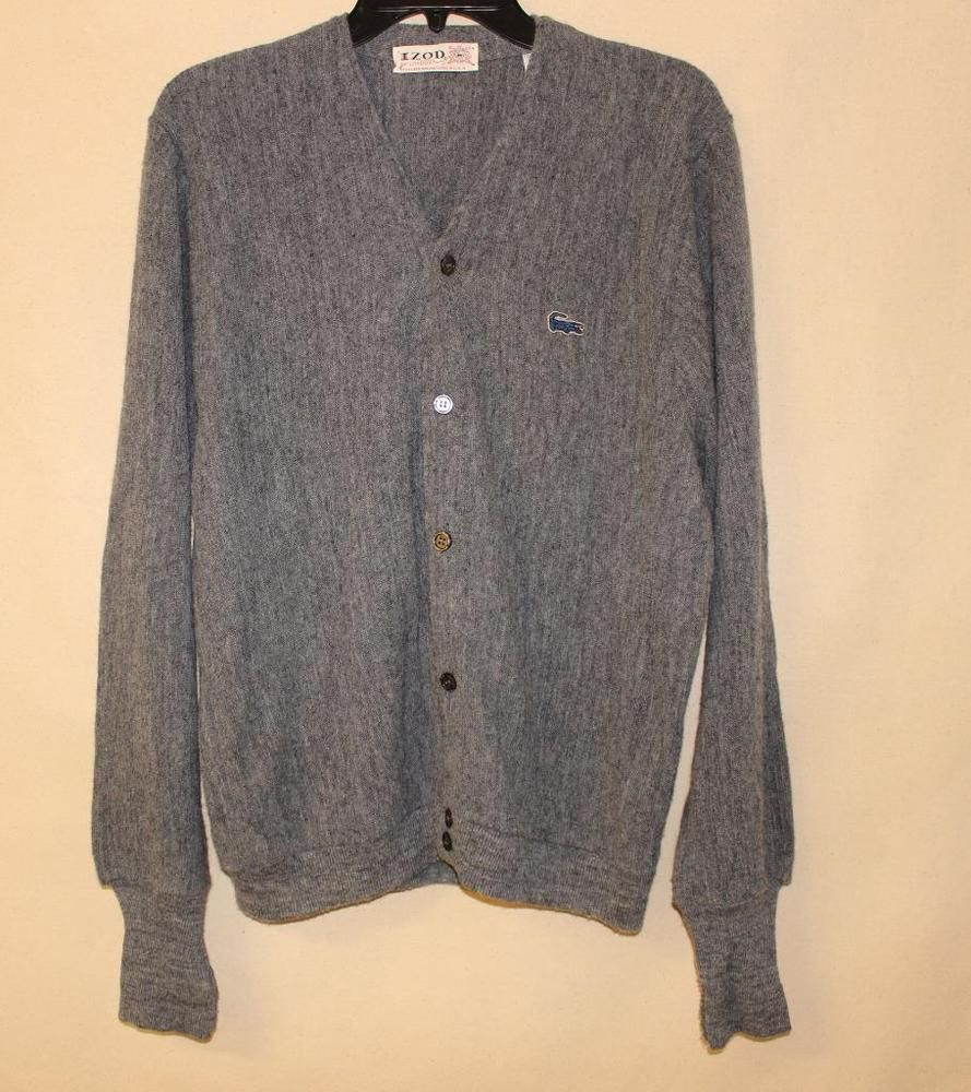 VTG IZOD MENS CARDIGAN SWEATER BUTTON FRONT W CROCIDILE GATOR LOGO ...